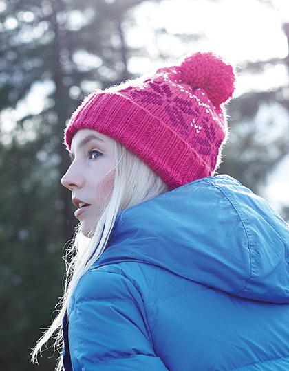 Fair Isle Snowstar Muts Roze Wit