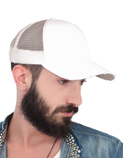 Witte pet Rapper Destroyed Trucker Cap