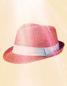 lente hoed blauw lint