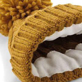 mosterdkleurige muts Cable Knit Melange Beanie binnenkant