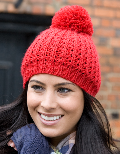 Knitted Flute Pom Pom muts rood