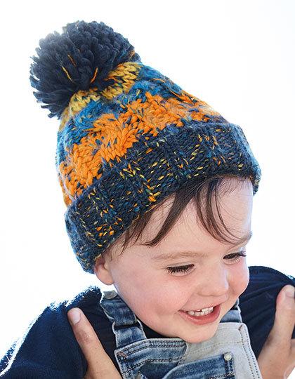 Babymuts Corkscrew - blauw en oranje
