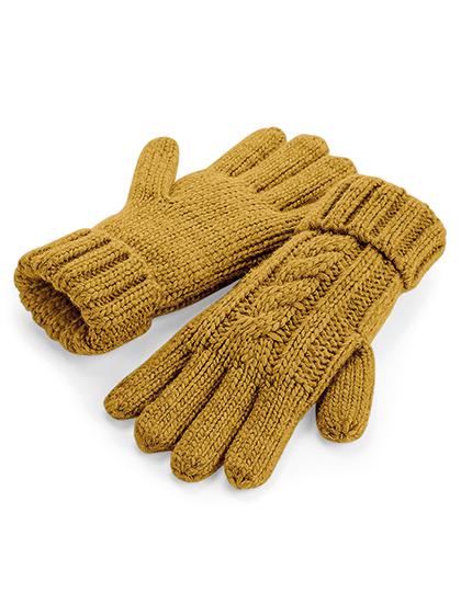 Handschoenen Mosterdkleurig Cable Knit Melange