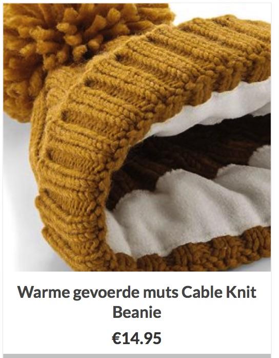 Muts Warm en gevoerd Cable Knit Beanie