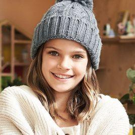 Grijze warme gevoerde Junior Cable Knit muts