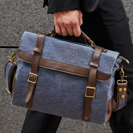 Retro messenger bag Cambridge - blauw canvas met bruine riempjes