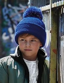 Kinder-muts-blauw-Bobble-Beanie kleine foto