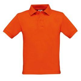Oranje kinder polo biologisch katoen